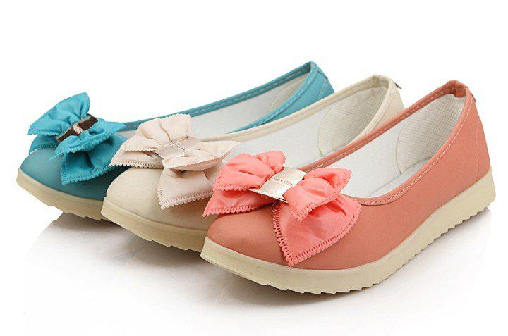 colored bow flat shoes for women, lady s plus size fashion dress bal