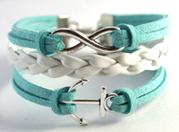 Wholesale New arrival anchor leather chain bracelet Green White Leather Bracelet handmade personalized jewelry