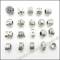 Wholesale Mix Antique silver charms Large Hole Beads suitable for DIY European bracelet zinc alloy