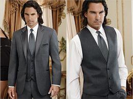 Charcoal Grey Groom Tuxedos Notch Lapel Groomsmen Men Wedding Suits(Jacket+Pants+Tie+Vest)H472