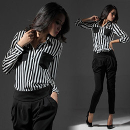Wholesale New Elegant Womens Loose Long sleeved Black White Striped Chiffon Shirt Tops