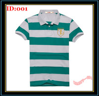Men Cotton Polo Mens T-Shirts Men's Short Sleeve Lapel Green White Striped Polo Shirts Embroidery T Shirt Sale