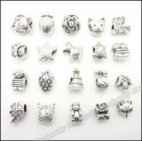 Coin antique flats - Mix Antique silver charms Large Hole Beads suitable for DIY European bracelet zinc alloy