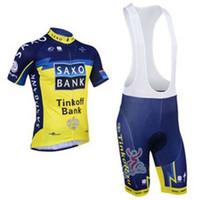 Wholesale 2013 SAXO BANK TEAM BLUE Short Sleeve Bicycle Bike Wear Cycling Jersey BIB Shorts Size XS XL