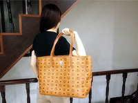 Cheap New 2013 Fashion Shopping Bag MCM Vistos Cognac Brown HERITAGE Reversible Handbags Tote Shoulder Bag