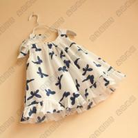 Baby girl kids Butterfly vest dress Ruffle Sundress Sleevele...