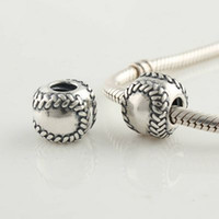 Silver baseballs sterling silver - 100 Sterling Silver Screw Sports Baseball charm Bead Fits European Pandora Jewelry Bracelets Necklaces Pendants