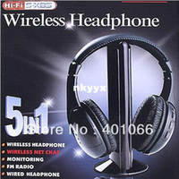 Wholesale 5 in HIFI Wireless headphone Earphone Headset wireless Monitor FM radio for MP4 PC TV audio free s