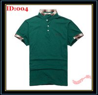 Men Cotton Polo Polo Shirt Mens Short Sleeved Lapel Slim Fit Shirts Green Embroidery Shirt Fashion Checked Detail