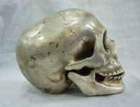 Metal antique silver collectables - Collectable tibet silver big skull death s head netsuke