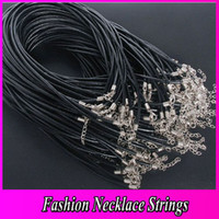 Wholesale 100PCS Black Leather Necklace Cord W Clasps mm Fashion Jewerly JF9007