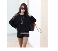 Wholesale Women s Batwing Top Dolman Lace Loose Long Sleeve T Shirt Blouse for Women Black Wh