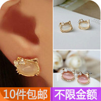 Wholesale Fresh bow little owl eye stud earring nude color eye cute cat face shape earrings