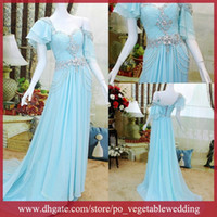 Wholesale Water Blue Cloudup Scoop Beading Sequin Crystals Zipper Floor Length Ruffle A line Prom Party Drress