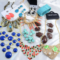 Wholesale Bubble Statement Necklace Jewelry Sets Bib Necklaces Bracelets Earrings Rings Mix Together Fashion Jewelry Choker KG