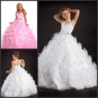 Wholesale Beaded Halter Open Back Girls Princess Dresses Hot Sale Girls Pageant Dresses Custom Made Gowns