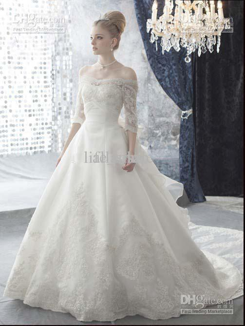 A-line Wedding Dresses 2013 Elegant Cap Sleeves 3/4 Slceeves With ...