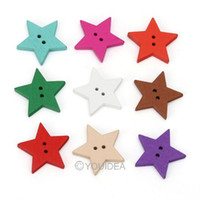 Buttons   200pcs Mixed Star Shaped 2 Hole Wooden Sewing Buttons Scrapbooking 18mm 111633