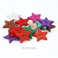 Buttons   hot sale 200pcs Mixed Star Shaped 2 Hole Wooden Sewing Buttons Scrapbooking 23mm 111634
