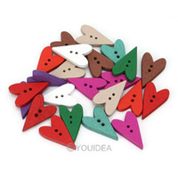 Wholesale 200pcs Mixed Colorful Heart Shaped Hole Wooden Sewing Buttons Scrapbooking mm