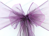 Wholesale Wedding Party Banquet Chair Organza Sash Bow Purple color new
