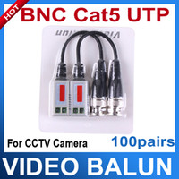 Wholesale 100Pairs Camera CCTV BNC UTP CAT5 Video Balun channel Twistered Pair Transceiver Cable AT P