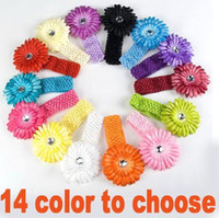 Barrettes Chemical Fiber Floral 14 color Baby girls crochet headband daisy flower hair clip