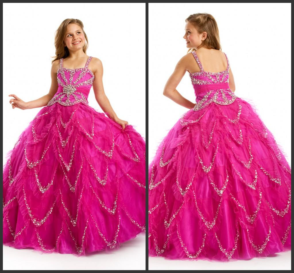 Beaded Square Neck New Design Princess Girl's Ball Gown Dresses ...