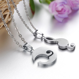 Moon&Musical Note couple gifts stainess steel pendant necklaces lover's jewellery Free shipping 823