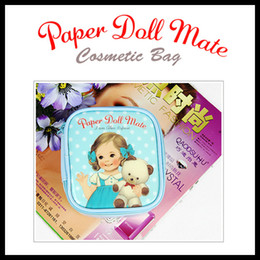 Wholesale 2013 Blue Doll Makeup Cosmetic Bag Soft PU Make Up Pouch Paper Doll Mate Ladies Handbag Classic Bag