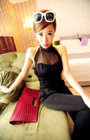 Women's dress Sexy Jumpsuits Sexy see- through gauze hang nec...