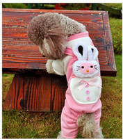 Wholesale pet clothes lovely stereo rabbit four leg guard coat dog clothing mix colors piece cw4