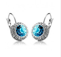 Wholesale newest style earrings Moon River fashion crystal jewelry mix colors pair sp31