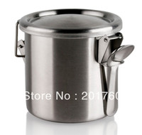 Wholesale Platinum stainless steel canister soy sauce cans spice jar sugar salt tank Small spoonfuls
