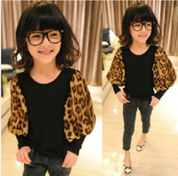 Wholesale super popular leopard Girls t shirts children spring summer fashion tops Kids cool wears lcagmy