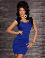 Wholesale 2013 New Andrew Sexy Lingerie Stretch Lycra Gothic Club wear Stage Wear Gold Chain Dress Blue