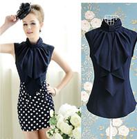 Women's dress Sexy blouse Sweet butterfly collar sleeveless ...