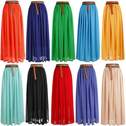 Wholesale Women Skirt Lady Girl Chiffon pleated Retro Long Maxi Skirt Drop shipping W3030