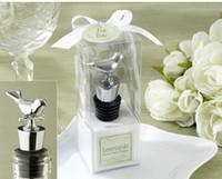 "Wholesale Lovebirds Favor - Lowest Price 100pcs lot ""Lovebirds"" Chrome Bottle Stopper silver, Love Bird Wedding Favor, Party Gift Free Shipping"