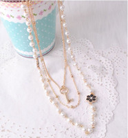Wholesale New Arrival Charming Fashion Multilayer Chains Pearl Flower Key Lovely Necklace Gift Party