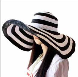 mujeres de la manera clásica de la raya de la cebra de Floppy paja ancho 17CM de la playa del borde del sombrero niñas señora Sun Cap # 5136