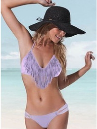 Wholesale Swimwear Sexy Lady Padded Boho Fringe Bandeau Top Strap Dolly Bikini Swimsuit D