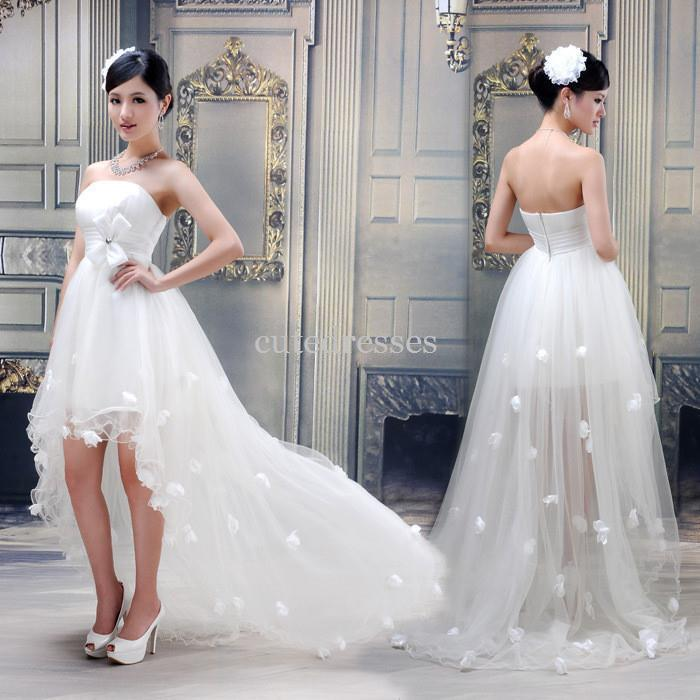Train Wedding Dress Fish Tail Short Front With Trailing Quality ...