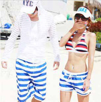 Wholesale Sexy couples Men amp Women Beach breeches Lovers Surf Board blue and white Stripe Swim Shorts
