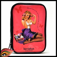 Wholesale Hot Sale Good Quality Makeup Pouch Baviphat PU leahter Big Irish retro painting waterproof handbag