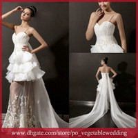 Wholesale New Style Cloudup Spaghetti Lace Applique See Through White Chiffon Exquisite Sheath Wedding Dresses