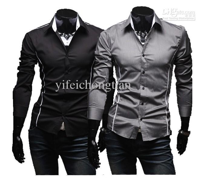 Hot Sell Long Sleeve Shirts Cotton Lapel Mens Shirt Slim Dress ...