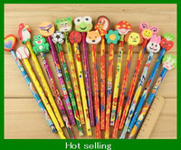 Wholesale Cartoon Wooden Pencil with animal eraser office study Novelty children hot gifts