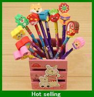 Wholesale Cartoon Wooden Pencil pen with cute animal eraser Novelty children Birthday gift kids