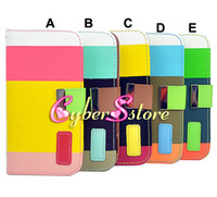 Leather samsung galaxy s4 - 100pcs Hit Contrast Color Wallet Card Slots Slot Leather Case Cover For Samsung Galaxy S4 SIV I9500